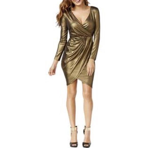 Thalia Sodi Gold Metallic Faux Wrap Dress 3648687ff